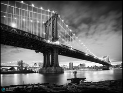 Manhattan & Brooklyn Bridge (Jrg Dickmann) Tags: nyc newyorkcity longexposure bridge bw ny newyork topf25 skyline brooklyn night river geotagged topf50 unitedstates manhattan dumbo explore brooklynbridge manhattanbridge eastriver sw canon5d topf100 frontpage canon1740 jrgdickmann geo:lat=40704883 geo:lon=73988202