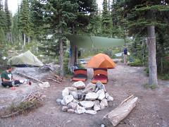 Camp at Long Mountain Lake, Selkirk Mountains, North Idaho.