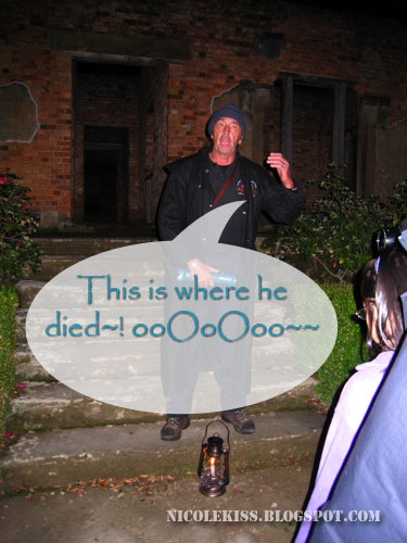 ghost tour guide explaining