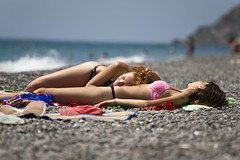 Sunbathers (DaveMosher) Tags: beach women sunbathing