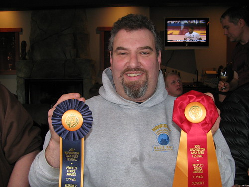 Alan Sprints from Hair of the Dog with his two Washington Cask Festival ribbons