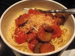 eggplant and chorizo pasta
