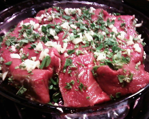 Ribeye marinating w oregano & garlic