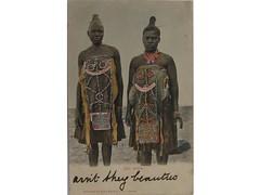 Antique postcard: Zulu Women (Baltimore Bob) Tags: africa old woman black southafrica beads women antique postcard dresses bead ethnic zulu ethnographic