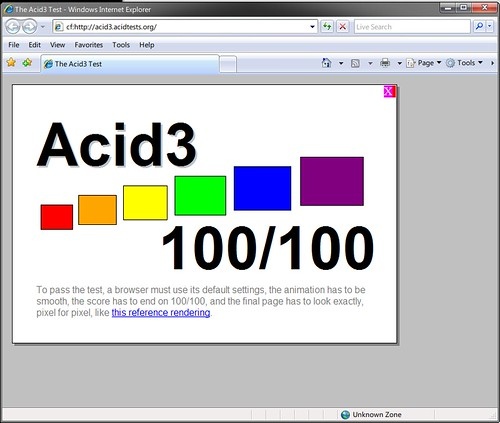 IE7 + Google Chrome Frame (Acid3)