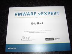 Eric Sloof's vEXPERT Certificate