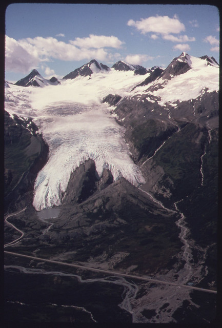 Worthington Glacier Looking West Toward the Glacier Richardson Highway and Girls Mountain the Prominent Peak on the Upper Right (Elevation 6 134 Feet)081974 by The US National Archives