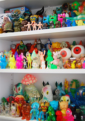 my toy collection on my studio shelf (Ayako Takagi) Tags: bike cat studio toys japanese mini godzilla ayako takagi hedorah rxh uamou