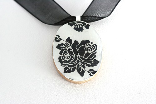 Black and White Floral Collage Pendant