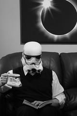 Time to Unwind - Explored (One Lost Penguin) Tags: bw me book starwars mask helmet mug stormtrooper 365 selfie explored