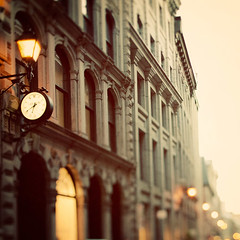 The magic hour (IrenaS) Tags: city urban blur clock buildings lights bokeh montreal oldmontreal gettyimagescanada