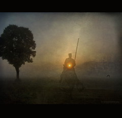 Ghost Rider (h.koppdelaney) Tags: life morning light mist art digital photoshop self idea energy symbol ghost philosophy mind merlin knight motivation quest grail symbolism psychology archetype oneness parsifal advaita parzival hourofthesoul graphicmaster