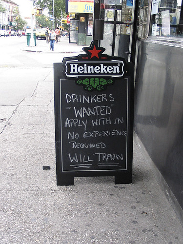 Drinkers wanted, Brooklyn