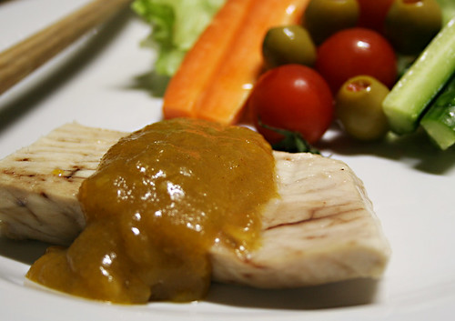 Tuna Steak with Persimmon & Yuzu Sauce