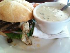 Mushroom burger and clam chowder
