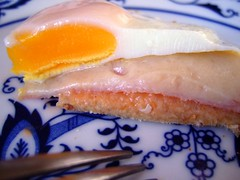 7/365 - dissection of a breakfast (jypsygen) Tags: china blue food white yellow cheese breakfast bread gold cut swiss egg plate fork ham dressing slice fried quick tine emmental croquemonsieur dissect croquemadame project365 thousandislanddressing project3652009