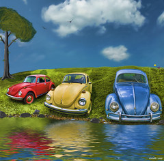 Bugs on a Hill (kenmojr) Tags: auto summer sky classic water car vw vintage bug volkswagen beetle sunny painter vehicle corel kenmo krm