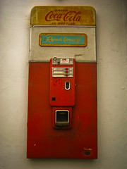 Refresh Yourself (_cassia_) Tags: blue red white yellow shop wall vintage brighton vendingmachine cocacola kemptown needfulthings refreshyourself