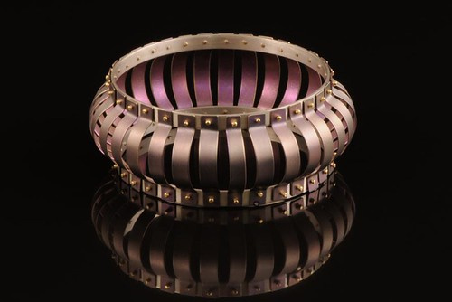 Pink With 18k Gold Bangle