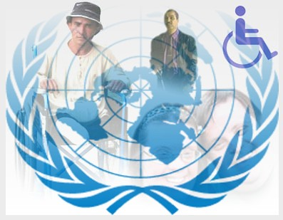Emblema de la ONU con representación del logotipo de la diversidad funcional y personas con diversidad funcional