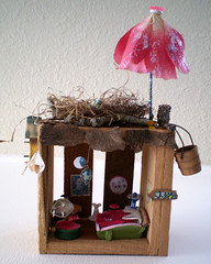Miniature Enchanted Fairy House (Enchanticals) Tags: wood animals table mouse miniature beads bed chair chairs furniture handmade dam mirrors stamp fairy fantasy etsy fairies magical collectibles enchanted dollhouse fairyhouse fairymagic etsyteams minimakers faeteam damteam enchanticals