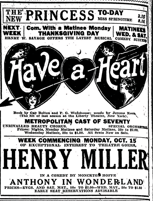 Vintage Ad #797: Have a Heart at the Princess Theatre