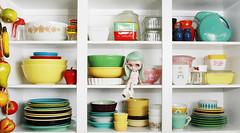 quick! (Princess Di-O-Rama) Tags: kitchen kitsch blythe shelves fiestaware satu pyrex misssallyrice