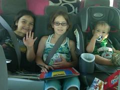 Kids in the Car as we leave Utica
