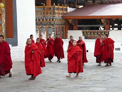 Summoned to Prayer (Clear Lady) Tags: scarlet asia bhutan buddhism monastery monks himalayas mountainkingdom punakhadzong drukyul earthasia kingdomofthethunderdragon