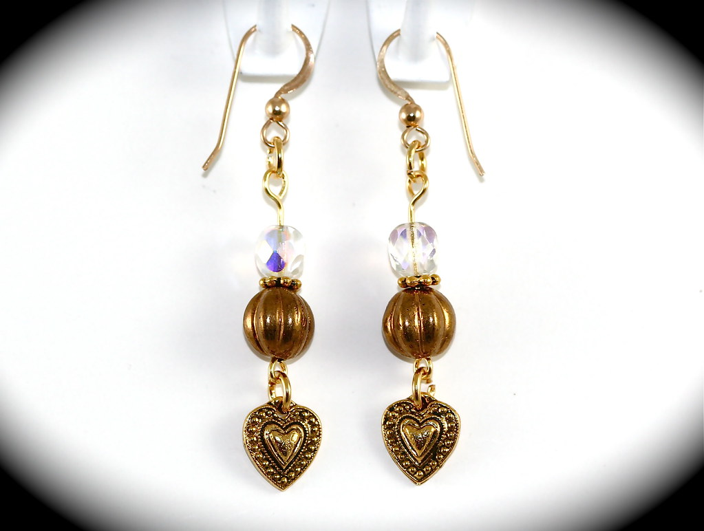 Antiqued Gold Heart Earrings