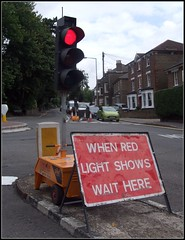 When Red Light Shows Wait Here.. (Stuart Axe) Tags: sign trafficlight trafficlights roadworks uk brentwood essex england countyofessex unitedkingdom gb greatbritain