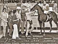Sea Warrior (newmexico51) Tags: horse woman man newmexico racetrack 1971 mujer cowboy boots crowd may 7 clothes polkadots seven jockey winner horseracing nm cowboyhat seventies chaps chadd ruidoso minidress ruidosodowns seawarrior elmay dlchadd carolchad gordonweaver
