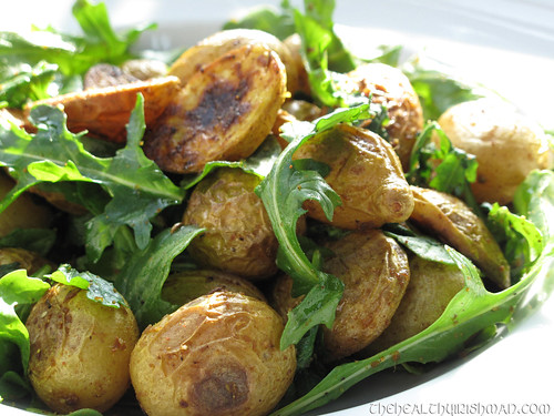 Roasted Spiced Spuds with Arugula