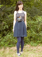 plaid skirt, military jacket, cool camera (bloomingleopold) Tags: autumn music fall festival vintage outfit scenery bluegrass tennessee urbanoutfitters country tights thrift braids plaid militaryjacket bloomingleopold cutoutheels