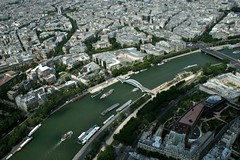 View from eiffel tower (89tomass) Tags: bridge france tree seine river boat view eiffel uildings toweer