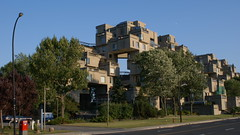 Modern Living (Mdrewe) Tags: road city urban brown house canada building tree green home strange mailbox living weird apartments mail suburban quebec montreal sony odd cube housing mon suspended condos qc condominium worldsfair sqaures modernist canadapost expo67 cubism a300 p1f1 cans2s habitat1967 architectmoshesafdie