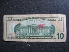 defaced $10 u.s. currency (deb1edeb) Tags: canon group 2009 currency defaced funnymoney grouppool powershotsd990is moneygraffitifunnymoneymoneyart