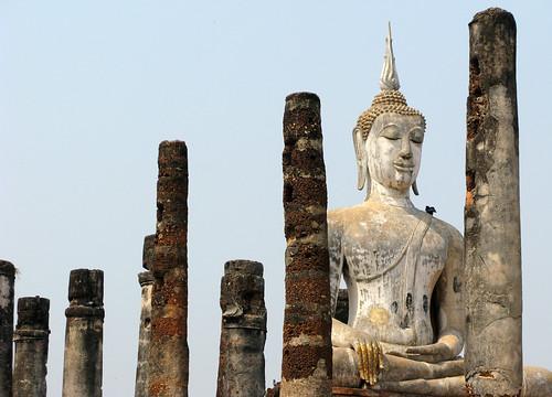 Buddha in a field of columns - Sukhothai, Thailand
