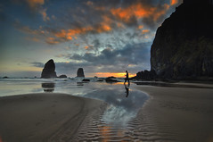 Stepping out into the sunset, Cannon Beach, Oregon Coast (Don Briggs) Tags: beach oregoncoast cannonbeachoregon singleexposurehdr donbriggs nikond5000 flipdownlcd 1224tokinalens