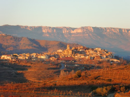 A view of the village of Gratallops and the Montsant mountain chain at the background, seen from the Finca Rocapoll (Priorat)