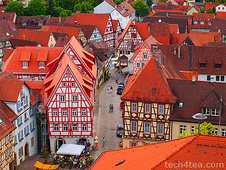 View of Bad Wimpfen old quarters from the Blauer Turm. Taken with an Olympus 450 with Pop-Art effect.