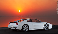 Ferrari 355 GTS (Mishari Al-Reshaid Photography) Tags: sunset sea white reflection cars car birds sport speed photoshop canon reflections eos seaside italian automobile horizon flash flock 1996 fast sunsets flamingos ferrari kuwait canondslr canoneos supercar photoshopcs2 automobiles sportscar sportscars supercars gts q8 f355 carphotos carphotography 24105 355 gtm italiancars carphoto canoncamera canonphotos canoneflens imagestabilizer q80 canonllens 40d ef24105 mishari canonef24105f4lis kuwaitphotos 580exii canoneos40d canon40d kvwc kuwaitartphoto gtmq8 kuwaitart kuwaitvoluntaryworkcenter kuwaitvwc grendizer99 canon580exiiflash kuwaitsunsets kuwaitphotography grendizer99photos misharialreshaid malreshaid misharyalrasheed