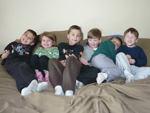 Six Kids on Our Bed