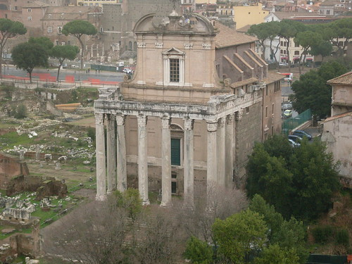 Temple of Antoninus and Faustina, seen from the Palatine Hill