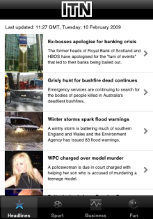 ITN News on iPhone - headlines
