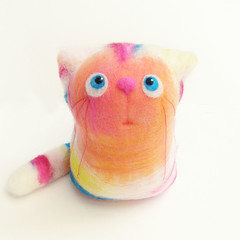 Sacha, the Cat - felt art toy (fingtoys) Tags: wool felted cat kitten bright handmade blueeyes waldorf felt fing naturalmaterials australianmerino