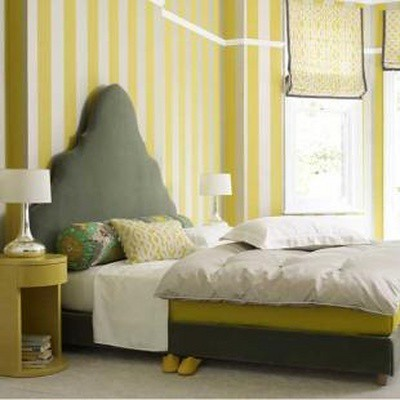 the estate of things chooses yellow and grey bedroom
