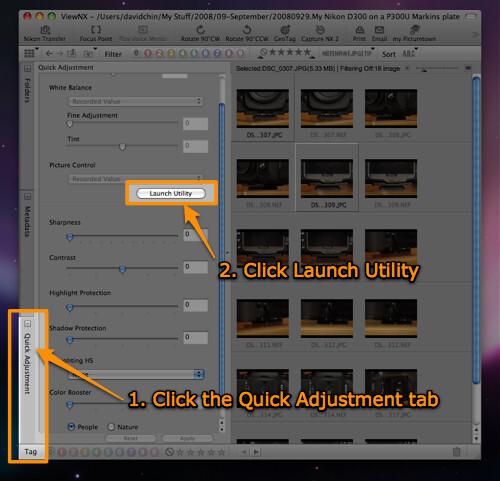 Nikon ViewNX -- Quick Adjustment tab