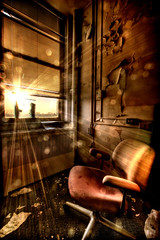 Follow the day and reach for the sun... (chasingcars36) Tags: sun chicago abandoned window sunrise hospital illinois chair decay urbanexploration xray flare southside orbs urbex abandonedhospital andnoidontbelieveinorbslol