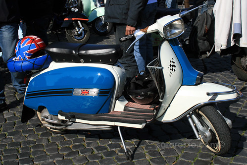Vintage Blue and White Vespa with British Flag